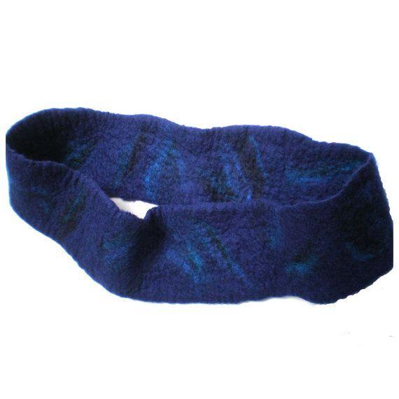 Felted Blue Infinity Scarf Cowl Australian by MissTreeCreations, $70.00