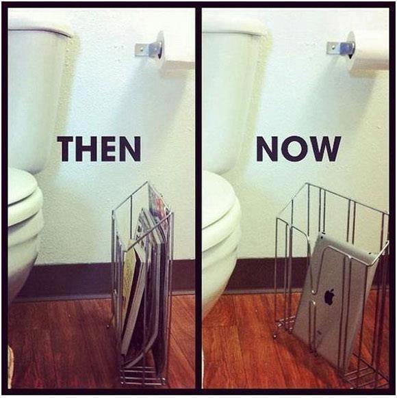 toilet reading then vs now
