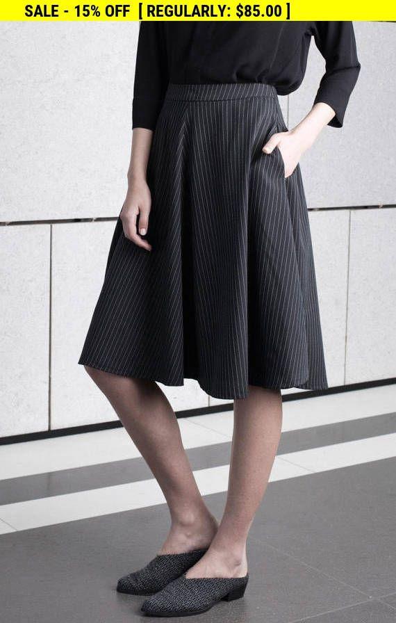 Weekend SALE Black midi skirt full circle prom Skirt