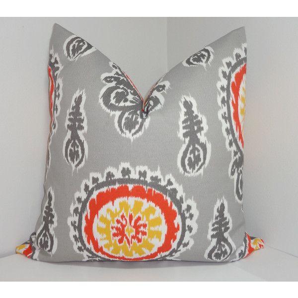 Fall Outdoor Pillow Set Suzani Greek Key Geometric Floral Yellow Grey...  ($61