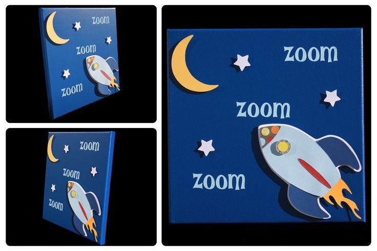 3D Nursery Art - Rocketship, Moon, Stars - zoom zoom zoom