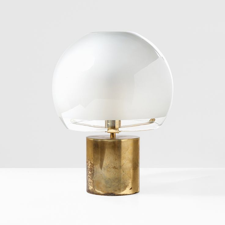 Luigi Caccia Dominioni; Brass and Glass  'Purcino' Table Lamp for Azucena, 1966.