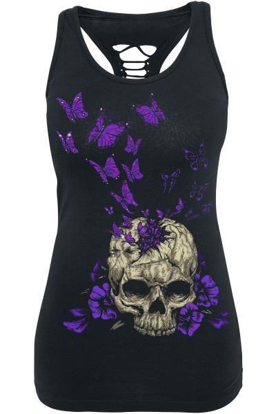 Butterfly Skull vest top ~ EMP Full Volume