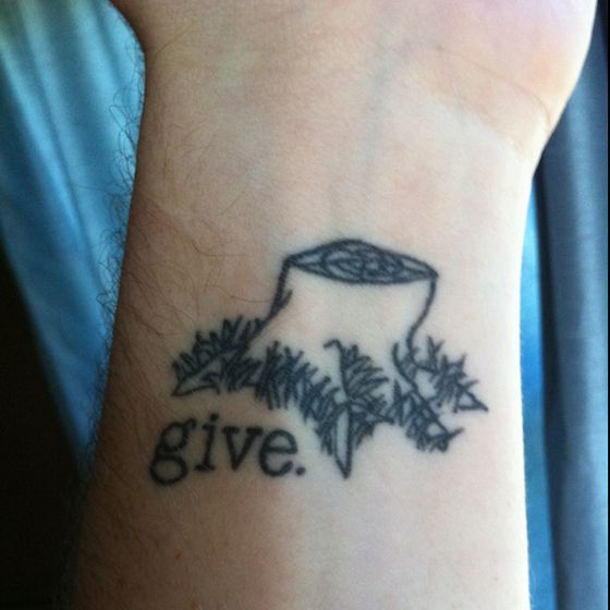 "Such a cool tattoo from the book ""The Giving Tree"". This is what I want."