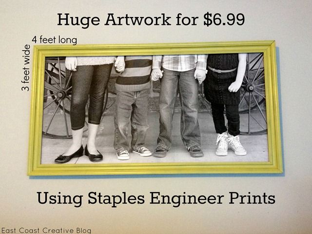 Engineer Print Artwork- I just did this and it is great!!  I downloaded some pictures to the Staples website and ordered Engineer Prints.  Soooo Cheap and they come out great.  The quality isn't like a photograph but, it is near perfect.  I love it!!!  I'm going to make more and hang some in my Craft Room.