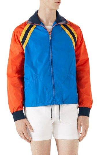 Free shipping and returns on Gucci Tiger Embroidered Track Jacket at Nordstrom.com. Pre-order this style today! Add to Shopping Bag to view approximate ship date. You'll be charged only when your item ships.A retro-inspired track jacket blocked out in bright, eye-catching color calls for a wild day or night out with an embroidered tiger appliqué on the back.