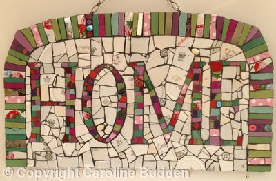 Mosaic 'HOME' sign and key hanger - Mosaic crockery, beads, tiles
