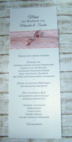 Kartenmanufaktur Arndt, besondere Einladungen zur Hochzeit, passende Menükarten/ Hochzeitspapeterie auch im Vintage-Style mit Spitze - Hochzeitspapeterie Vintage