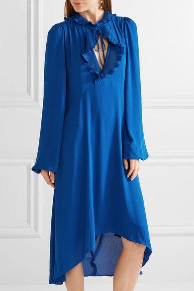 Balenciaga - Ruffle-trimmed Georgette Dress - Bright blue - FR38