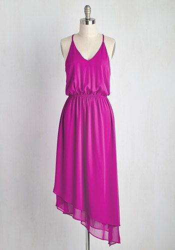 Catching a glimpse of yourself in this magenta dress causes you to pause your drift across town. Balancing the casual look of this chiffon gown's V-neck and racerback silhouette is a gathered waist and asymmetrically tiered skirt, providing style that mirrors the fluidity of your gait.