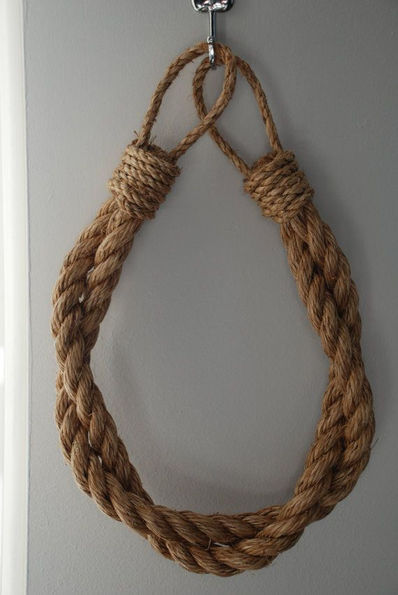 Beautiful hand made rope tiebacks, made to a high standard and to order. These chunky curtain tiebacks compliment any living room, bedroom or nautical themed room and add a stunning and unique style.  With their lovely natural look, they match curtain fabric of any colour.  This grade 1 manila 3 strand natural fiber rope is durable, flexible and resistant to sunlight.  Please get in touch if you would like make a custom order or have any questions.  The rope I use is 2 cm thick.   I can make…