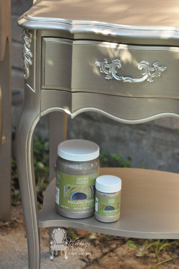 Metallic-Nightstand-Makeover Lots of brand advice for paint, primer, & Zibro white paintbrush.