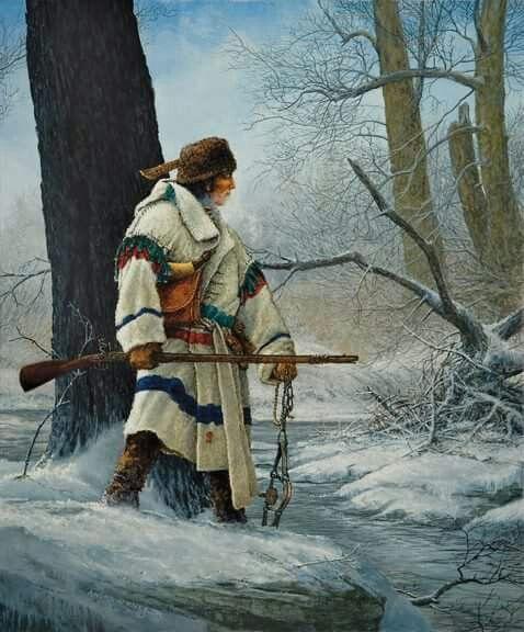 Metis Vaoyageur Canada wearing Hudson Bay Blankets Capote jacket winter hunting