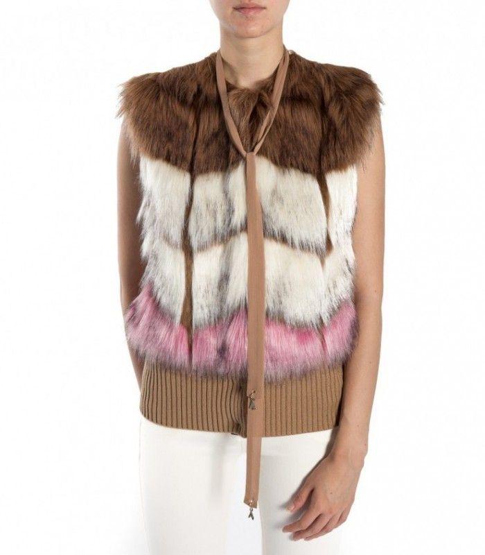 PATRIZIA PEPE beige degradè faux fur waistcoat 8S0157 A2UA