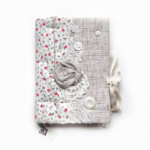 Notebook Fabric Covered A6 Coffee Aged Paper Blank Pages