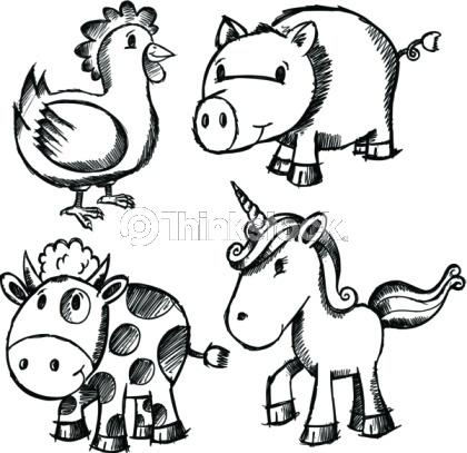 Doodle Sketch Animal Set - including Unicorn
