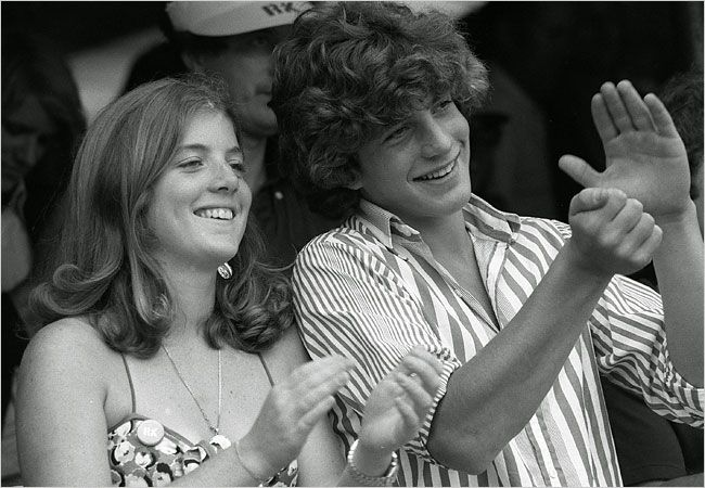 Caroline Kennedy and her brother, John F. Kennedy Jr., in 1977 at the Robert F. Kennedy Pro-Celebrity Tennis Tournament in Queens.
