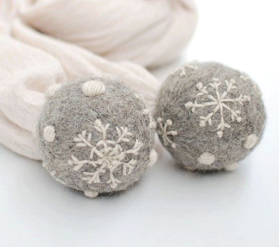 A touch of grey indeed... Huge felted balls and embroidered snowflakes