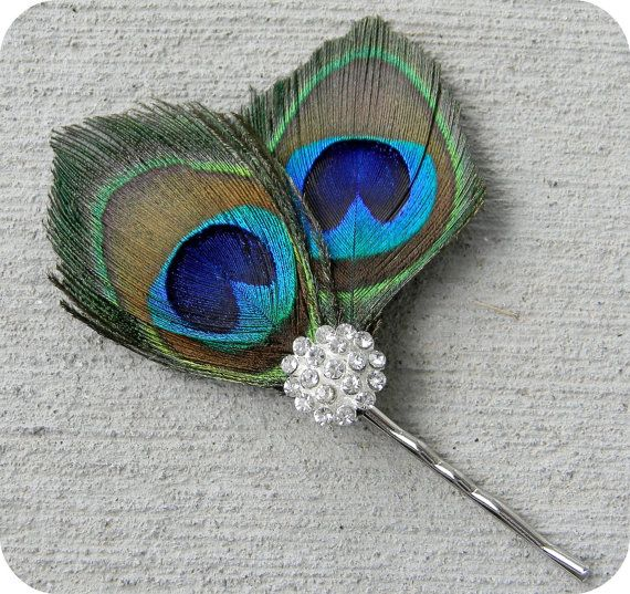 Peacock feather hair piece fascinator with by AddisonRenee on Etsy.