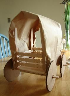 "Covered Wagon Craft- We'll be doing this while reading ""Little House in the Big Woods"" this summer"