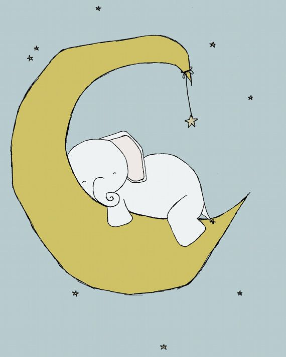 Nursery Art Baby Elephant Moon And Stars Dream