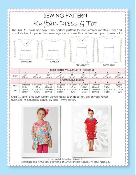 Girls Kaftan Pattern PDF, Dress Pattern, Childrens Sewing Pattern ...