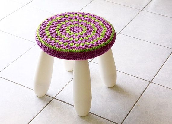Crochet stool cover nursery decor granny stool cover от polixeni19