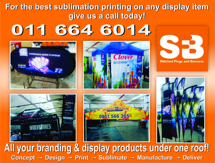 All branding & display products done under one roof. From #concept to #design to #print to #sublimate to #manufature to #deliver.  Call #stitchedsa today for the #best prices available. #stitchedsa #branding #display #sublimation #printing #graphics #banners #outdoordisplays #indoordisplays #bannerprinting #flags #flagdesign #bannerdesign