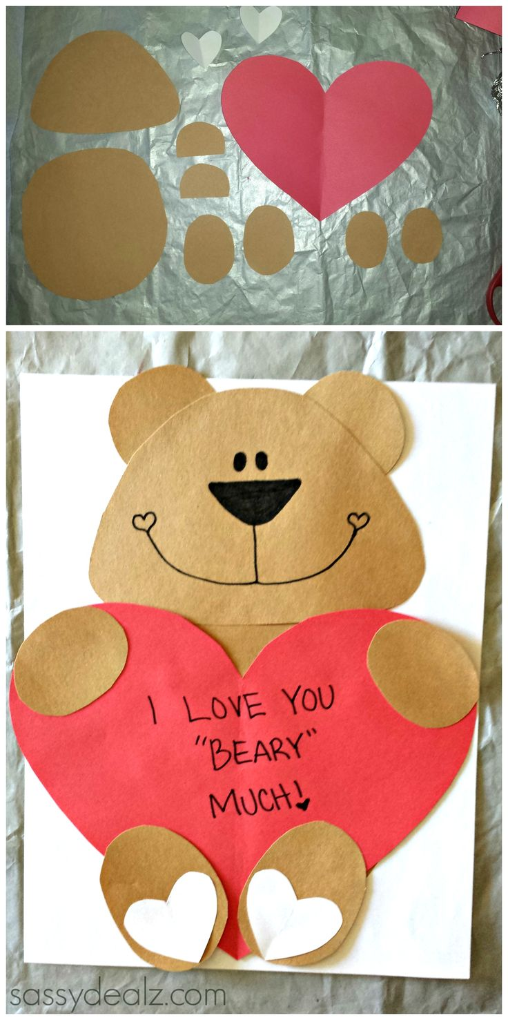 "DIY Bear Valentine's Day Craft For Kids! Cute Valentines card idea! It says ""I Love You BEARY Much"" on a heart that the bear is holding. So cute! 