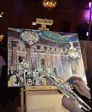 Your event, painted live on the day while your guests watch, and yours to take away at the end of the event.