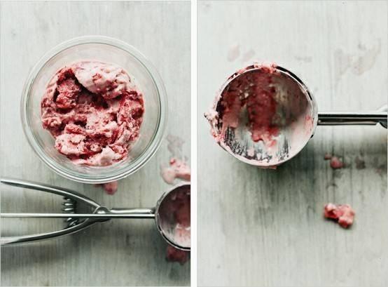 Roasted strawberry coconut milk ice cream