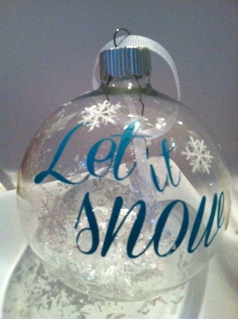 Let it Snow Christmas ornament by decaldecorandmore on Etsy, $7.00.