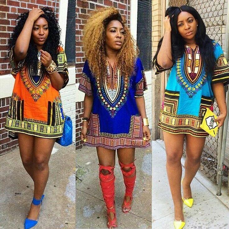 Women's Summer African Style Gypsy Loose Dashiki Dress Tops Boho Party Dress - White Dress - Ideas of Dress White # DressWhite #African Style ...