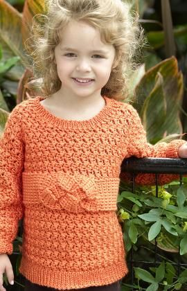 Child's Friendship Knot Sweater Crochet Pattern. Red Heart Free Pattern - no membership required