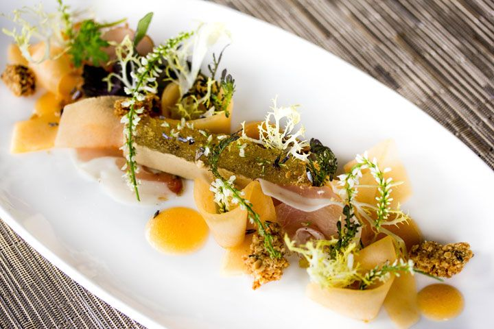 Canoe (Toronto) - A beautifully prepare tasting menu with melon in every course.