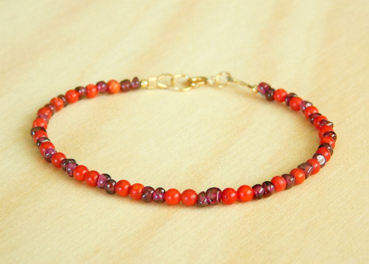 Gemstone Bracelet, Beaded Bracelet, Garnet