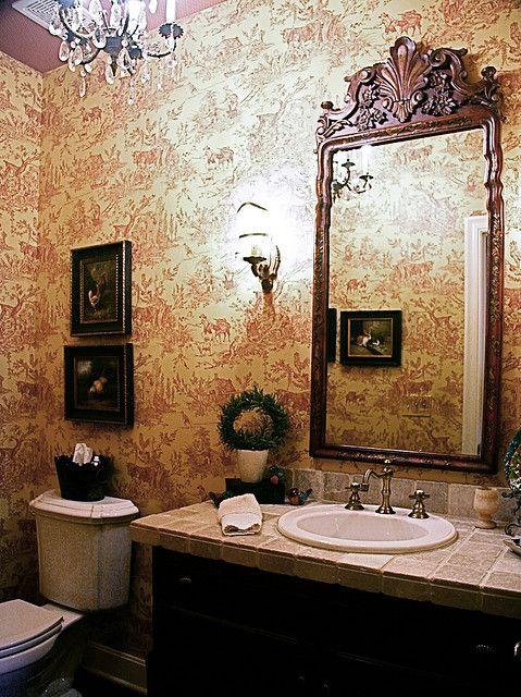 yellow toile wallpaper | bathroom2 traditional powder room red and yellow toile wallpaper ...