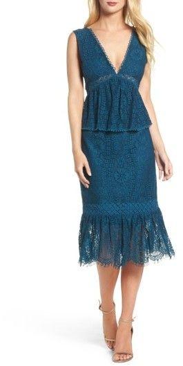 Women's Foxiedox Emilia Lace Peplum Midi Dress