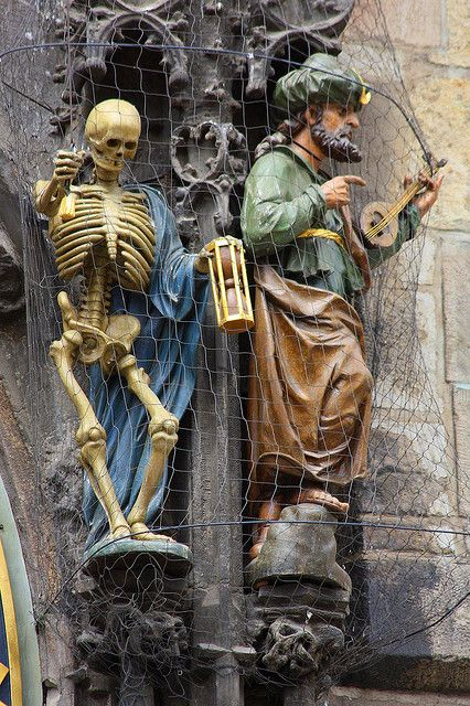 Statues beside Prague Astronomical Clock, Czech Republic