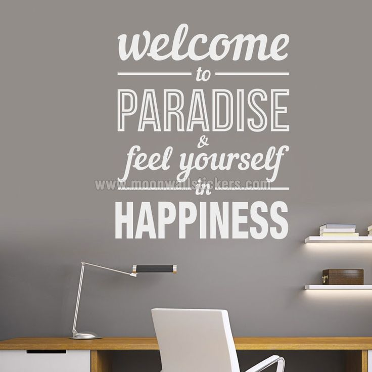Typography stickers welcome to paradise office decor inspirational stickers motivational decals