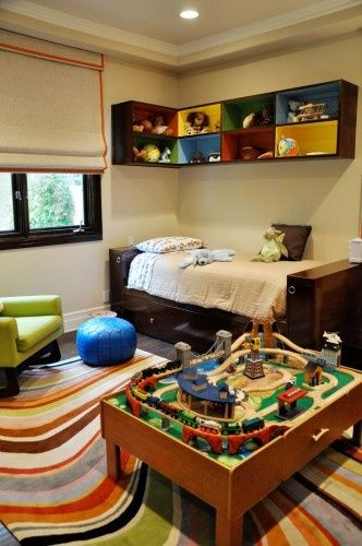 boys room, love the above bed shelves!
