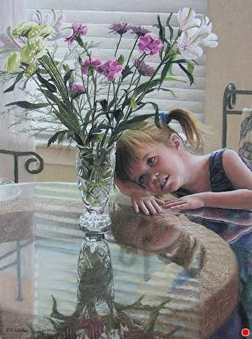 Audrey With Flowers by Rita Kirkman Pastel ~ 25 x 19 inches