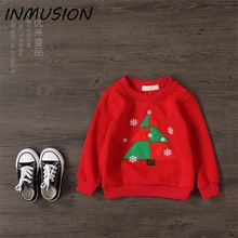 Inmusion Christmas tree Brand Design Baby Girls T Shirts Fashion Hoodies Cotton Full Sleeve Fashion Hoodies Warm Clothing(China (Mainland))