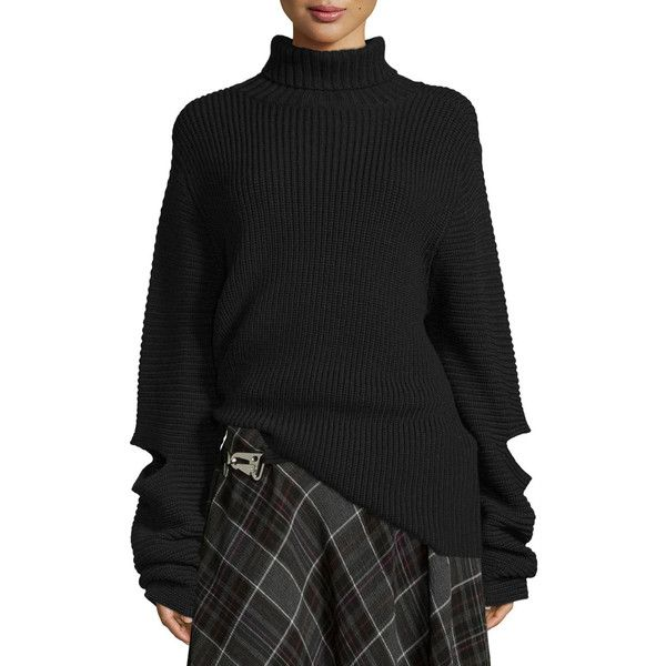 Public School Cutout Oversized Ribbed Sweater ($500) ❤ liked on Polyvore featuring tops, sweaters, black, long sleeve pullover sweater, cutout sweaters, ribbed sweater, extra long sleeve sweater and turtleneck sweater