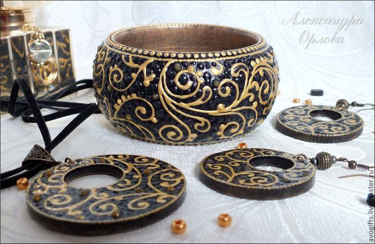 """Купить Комплект """"Вечерний"""": браслет,кулон и серьги. - золотой, черный, орнамент, комплект украшений"""