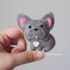 Felt silver frenchie french bulldog by PoCat Factory