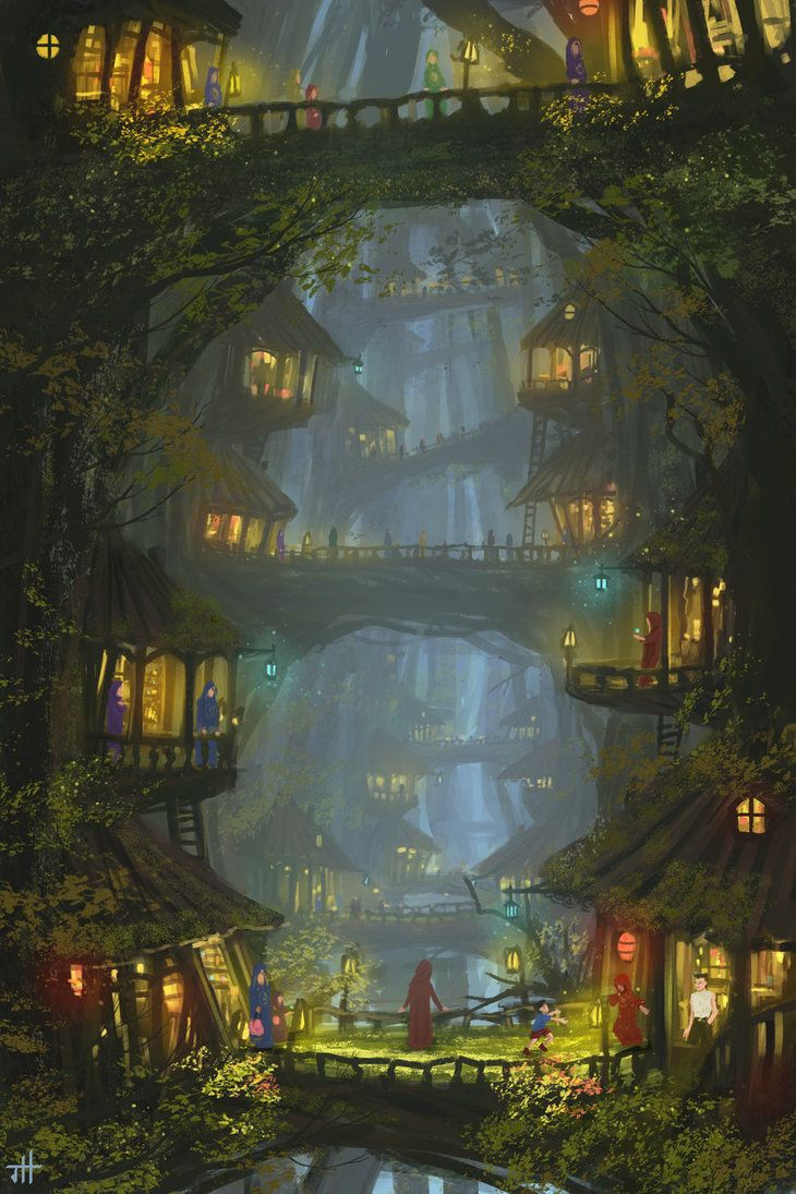 Tree village house forest elf landscape location environment architecture | Create your own roleplaying game material w/ RPG Bard: www.rpgbard.com | Writing inspiration for Dungeons and Dragons DND D&D Pathfinder PFRPG Warhammer 40k Star Wars Shadowrun Call of Cthulhu Lord of the Rings LoTR + d20 fantasy science fiction scifi horror design | Not Trusty Sword art: click artwork for source