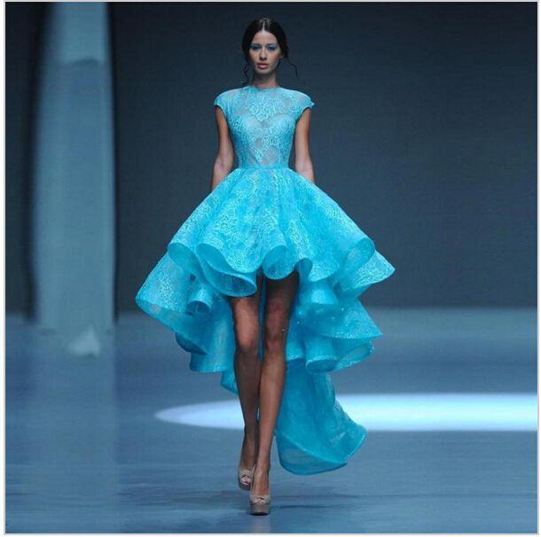 Moda Foto Real de Color Azul de La Vendimia Francés de Encaje Balón vestido de Vestidos de Baile 2017 Alto Bajo Sexy Libre Corto Vestido de Fiesta(China (Mainland))