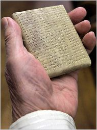 A Babylonian Stone Tablet used in the research and assembly of a 21-volume dictionary of the language of ancient Mesopotamia and its Babylonian and Assyrian dialects. Unspoken for 2,000 years but preserved on clay tablets and in stone inscriptions deciphered over the last two centuries. Dictionary finally completed by scholars at the University of Chicago. There are now explanations and the ability to study Cuniform writing of the 4th millennium BC by the Sumerians of Mesopotamia. Too exciting!: Dictionary Final, Stones Inscription, Inscription Deciph, Stones Tablet, Assyrian Dialectical, Ancient Mesopotamia, Final Complete, Clay Tablet, 2 000 Years