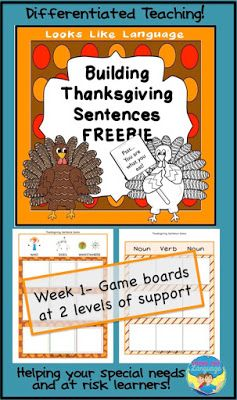 Build sentences using pictures to tell about Thanksgiving! FREE! I love this activity for my special needs kids and beginning readers!